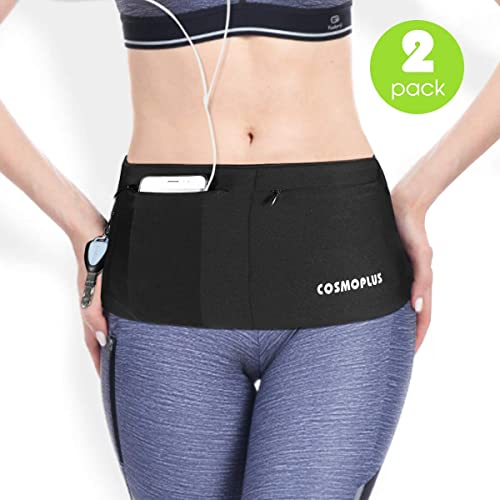 Stashbandz Unisex Travel Money Belt Extra Wide Spandex Fanny and Waist Pack USA Made Running Belt Fits Phones Passport and More 4 Large Security Pockets and Zipper