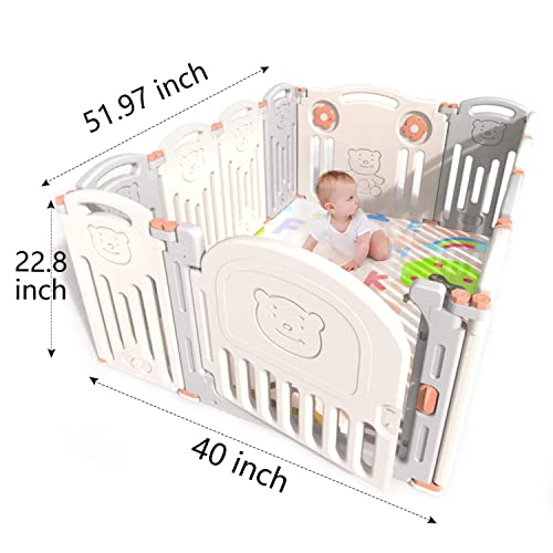 Baby Playpen Playard for Babies Infants Toddler 14 Panels Safety Kids Play Pens Indoor Baby Fence with Activity Board