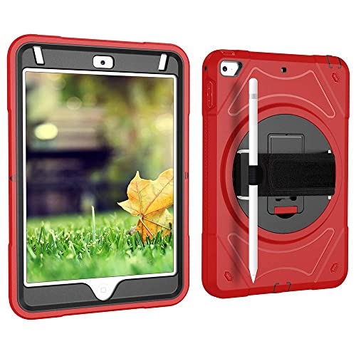 TEGOS/iPad Mini 5//4 Case 360 Rotating Stand Hand Strap/& Red Three Layer Hybrid Drop Protection Case with Stylus Pencil Holder Shoulder Strap for iPad Mini 4th//5th Generation 7.9 inch