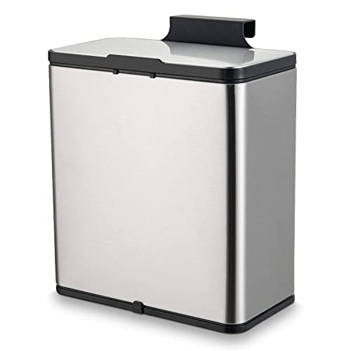 Subekyu Small Kitchen Trash Can With Lid 1 5 Gallon Mini Metal Garbage Bin Under Sink Or Hanging On The Cabinet Door For Kitchen Or Bathroom Brushed Stainless Steel Buy Products Online