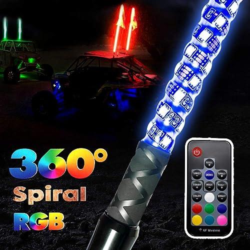 4ft Lighted Spiral LED Whip Antenna w//Flag /& Remote RGB For ATV Polaris RZR UTV