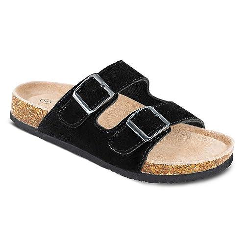 WTW Womens Arizona Flat 2 Strap Cork Sandals Soft Suede Footbed Slides