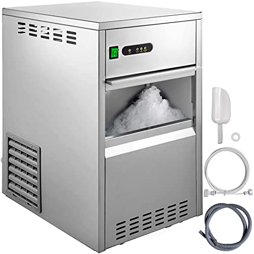 VBENLEM 55LB//24H Snowflake Ice Maker Commercial Ice Machine Countertop Stainless Steel Ice Maker Machine Freestand Crusher Suit for Seafood Restaurant Bar Coffee Shop Home Use