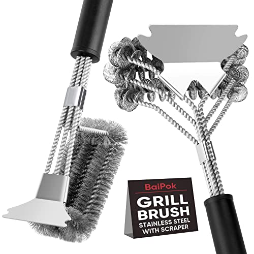 Grill Cleaning Brush Stainless Steel Wire Scraper Bristle Free BBQ Barbecue Tool