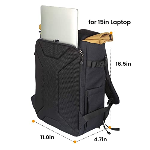 TARION XH Camera Bag Hardcase Camera Case Roll Top Camera Backpack 15 Laptop Compartment Waterproof Raincover for DSLR Mirrorless Cameras Lens Tripod Outdoor Men Women Color Silver