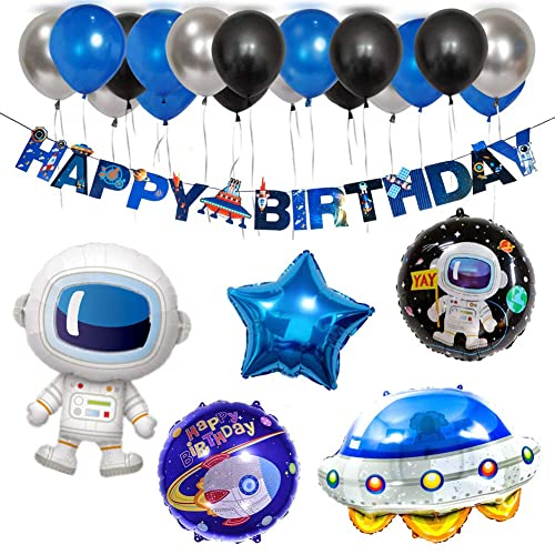 Favors Kids Birthday Outer Space Galaxy Banner Foil Balloons Theme Party Supply
