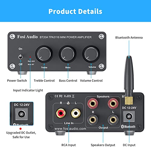 for Home Speakers with Bass /& Treble Control 100W+100W Dual Channel Class D Mini HiFi Stereo Power AMP Stereo Receiver Without Power Supply TPA3116 Bluetooth 4.2 Digital Audio Amplifier