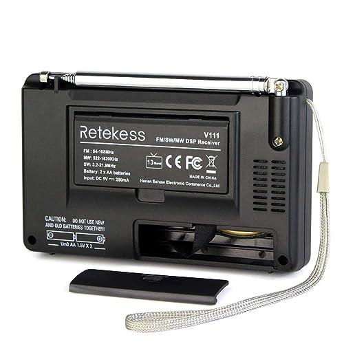 2* TIVDIO VT-111 Portable AM//FM//SW FM Shortwave Radio with Clock and Alarm US