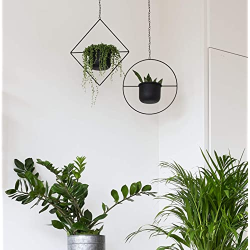 Set of 2 Black Geometric Metal Hanging Plant Pot Decorative Diamond Flower Pot Holder with Planter Mid Century Cactus and Succulent Planter Living Room Decor Indoor Black Party /& Wall Decoration
