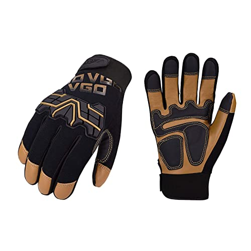 Vgo 1Pair//3pairs Cow Leather Work Gloves,Medium Duty Mechanic Gloves CA9729HL