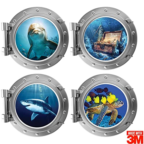 Buy Ofisson 4 Pieces Bedroom 3d Wall Stickers Porthole Sea Life Art Sticker 3m Tm For Kids Girls And Boys Playroom 12 Diameter Online In Thailand B07nl7yffl