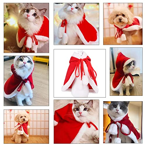 ITESSY Cat Christmas Costume with Hat Pet Clothes Apparel Outfits Santa Cape Cloak for Small Dogs Kitten