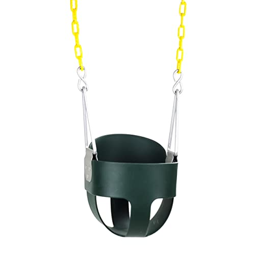 Squirrel Products High Back Full Bucket Toddler Swing Seat with Plastic Coated Chains Swing Set
