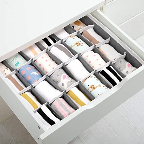 Joyoldelf Drawer Organisers Dividers 2 Packs Wardrobe Organiser 24 Cell...