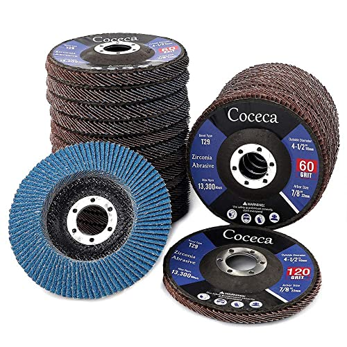 4.5 x 7//8 Mestool 22 Pack Flap Disc Type 29 Zirconia Abrasive Grinding Wheel and Flap Sanding Disc Includes 40//60//80//120 Grits