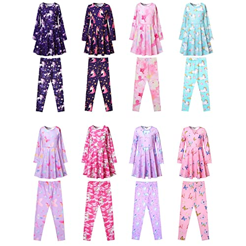 Jxstar Girls Long Sleeve Dresses Kids Unicorn Clothes Cotton Outfits 3-13 Years