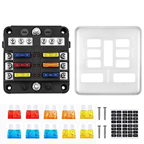 6 Way ATO ATC Blade Fuse Block Holder Side Terminal With Cover Car Truck