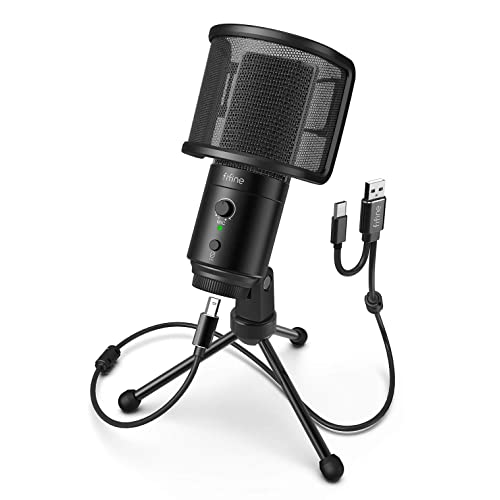 Buy Fifine Usb Desktop Pc Microphone With Pop Filter For Computer And Mac Studio Condenser Mic With Gain Control Mute Button Headphone Jack For Gaming Streaming Recording Youtube Extra Usb C Plug K683a