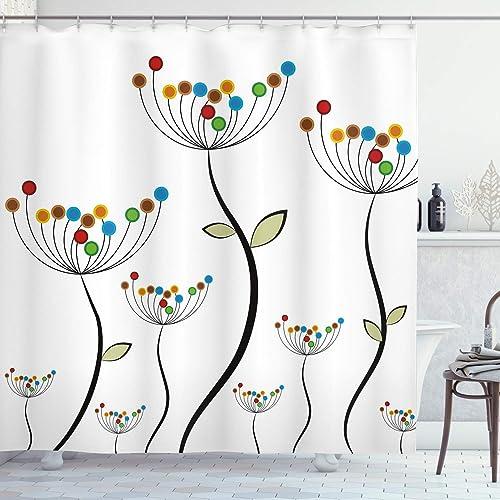 Dandelion Pattern Shower Curtain Fabric Decor Set with Hooks 4 Sizes Ambesonne