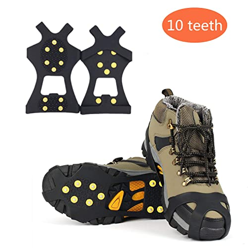 Warmiehomy Men Women Ice Cleats Snow Grips Anti-skid Shoe Covers Traction Cleats Ice Spikes Crampons for outdoor Fishing Snow shoveling
