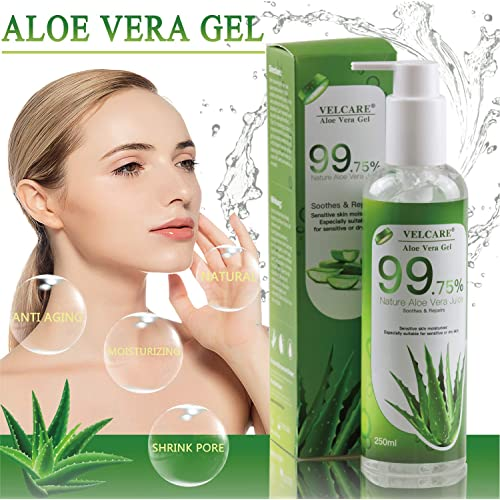 Velcare Aloe Vera Gel With 100 Percent Pure Natural Organic Aloe For Face Hair Body Soothing