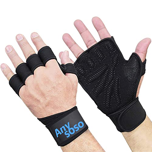 Weight Lifting Gloves with Built-In Wrist Wraps Full Palm Protection for Sport