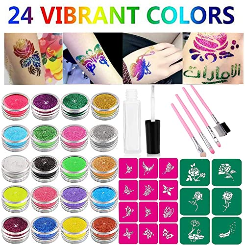 Glitter Tattoo Kit Temp Tattoos Makeup Body Art Flash Tattoo Painting 24 Color Bottles Of Glitter Powder 18 Butterfly Flower Stencils 1 Glue Applicator 4 Pink Cosmetic Brushes For Teenagers Adults