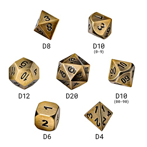 Metal Polyhedral Dungeons and Dragons Dice Sets with Dice Bag for RPG Gaming Including D20 Burnished Bronze /& Weathered Iron 2-Pack, Regular Blacksmith Craft Dice DND Dice Set