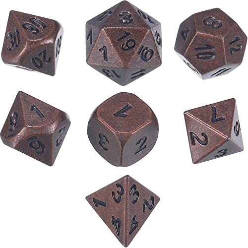 Bronze HD Dais DND Polyhedral Dice Set Ancient RPG Dice Set for Dungeons and Dragons Pathfinder MTG Role Playing Games Table Game Dice 7-Die Set D/&D