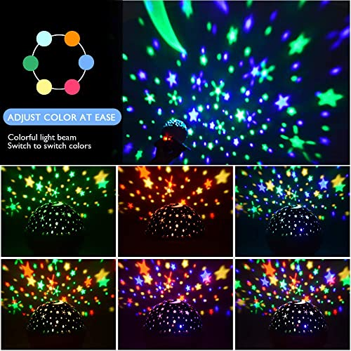 Aisuo Lighting Lamp Friends. Star Projector with Timer Auto Shut Off Rechargeable Lithium Battery /& Dimmable Function Green 7 Color Rotating Options by Remote Control Ideal Gift for Kids Women