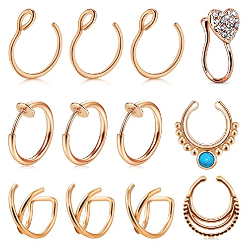 AVYRING Fake Nose Rings Clip on Nose Septum Ring Faux Piercing Jewelry Fake Nose Ring Hoop for Nose Lip Ear Non-Pierced 3 Style