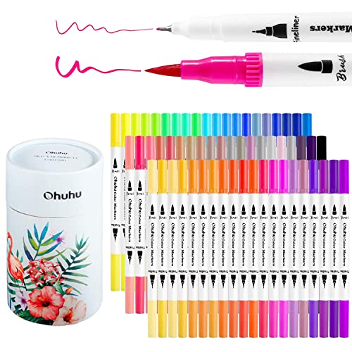 Ohuhu Art Markers Dual Tips Coloring Brush Pen Fineliner Color Pens 60 Colors Of Permanent Marker Highlighter Pens For Calligraphy Drawing Sketching Coloring Book Bullet Journal Art Projects Buy Products