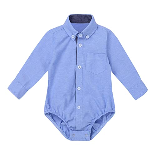 Baby Boys Infant Formal Shirts Gentleman Romper Bodysuit Wedding Party Outfits