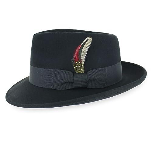 Belfry Homburg Men/'s 100/% Wool Felt Homburg Hat in Black Made in The USA