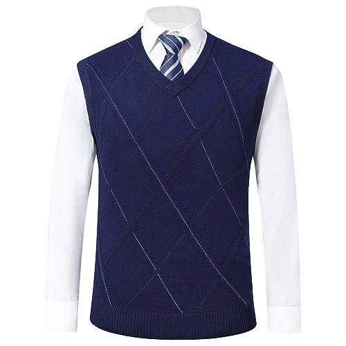 Men Vest Waistcoat Gilet Knitted Sleeveless Tank Top Sweater Jumper Warm Winter