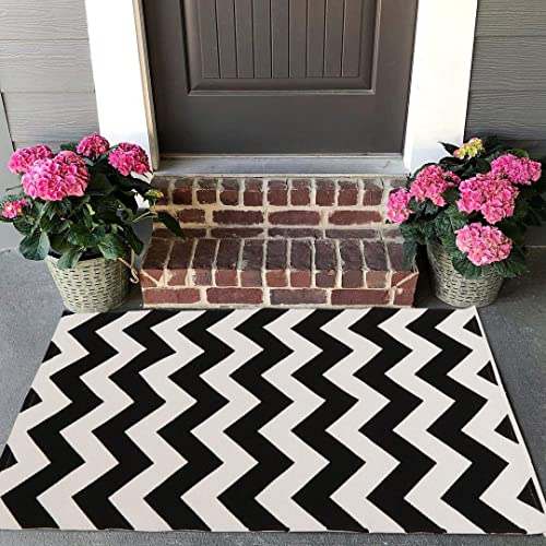 Buy Seavish Cotton Printed Rug 2w X 3l Black Chevron Decorative Small Area Rug Hand Woven Rug For Entryway Thin Throw Rugs With Non Slip Pad For Laundry Room Living Dorm Online