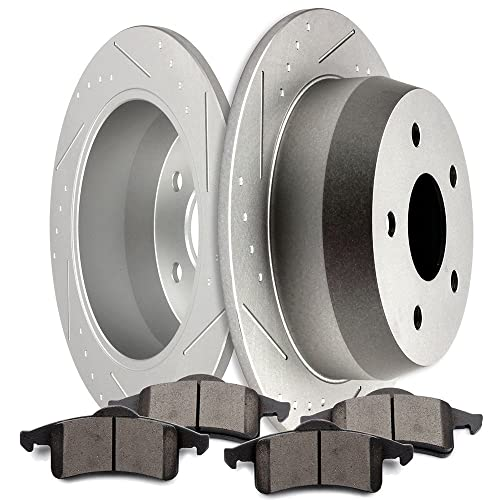 SCITOO Brakes Rotors 2pcs Front Drilled Slotted Discs Brake Rotors Brakes Kit for 2004-2009 Dodge Durango,2002-2010 Dodge Ram 1500,2011-2016 Ram 1500