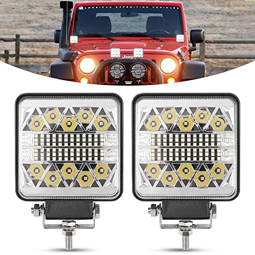 OFFROADTOWN 2Pcs 5 160W Square LED Work Light CREE LED Pods LED Driving Light QUAD Row Spot Beam Off road Driving Fog lights Waterproof LED Cubes for Truck Jeep Boat