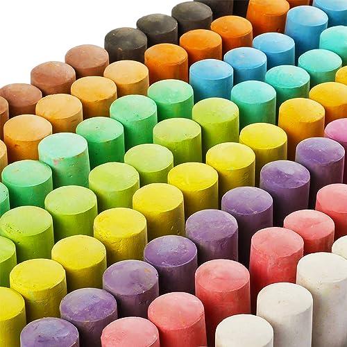 hi!SCI Jumbo Sidewalk Chalk Set for Kids 128 Pack 16 Colors Non-toxic Washable Art Play Set
