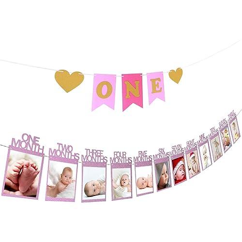 ZoomSky 1st Birthday Decoration Set 1-12 Month Baby Boy Bunting Toddler Growth Recording Garland for Newborn First Birthday Baby Shower Baptism Christening