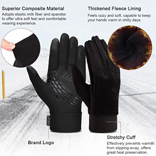 VBIGER Unisex Running Gloves Touch Screen Anti-slip Thermal Sports Winter Gloves with Updated Thickend Fleece Lining for Cycling Running Hiking Driving