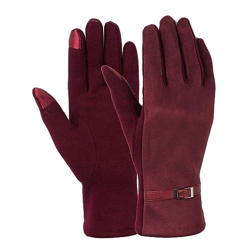 Women/'s Winter Wool Knit Gloves Touchscreen Hand Warmer with Warm Fleece Lining