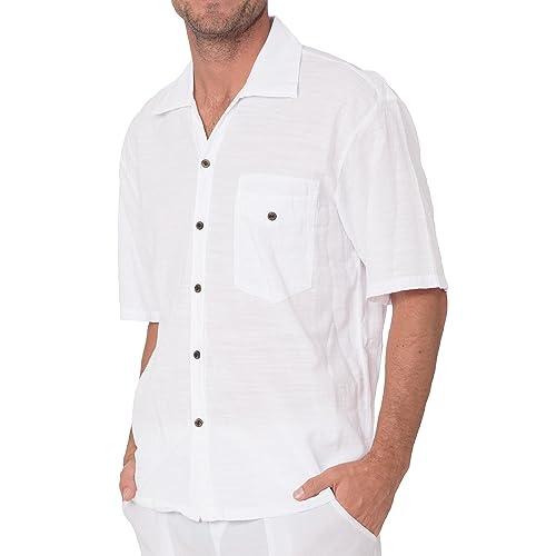 Men/'s Shirt 100/% Cotton Button Down Shirt Casual Hippie Beach Yoga Top Summer