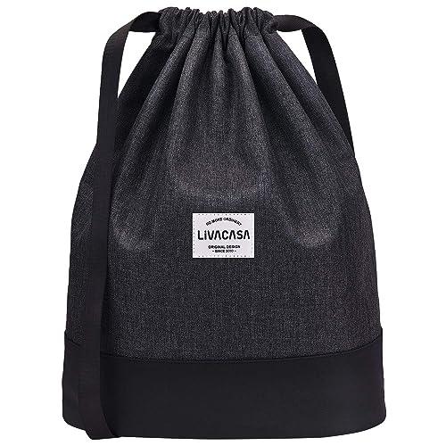 Livacasa Large Gym Sac À Cordon Sac Réglable Large strapes et Retour Zipper P