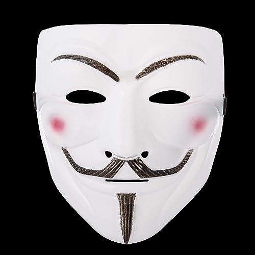 Hacker Mask for Costume Kids 2 Pack White Anonymous Face Masks for Halloween V for Vendetta DIY Toy Head Mask White