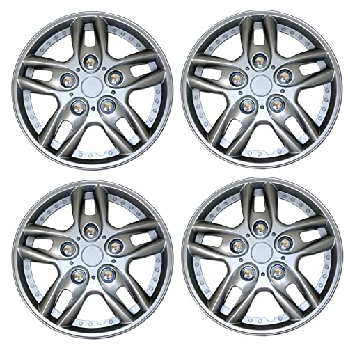 15-Inches Metallic Silver Hubcaps Wheel Cover Pop-On TuningPros WSC3-503S15 4pcs Set Snap-On Type