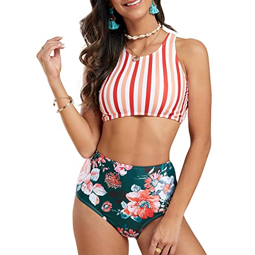 Gibobby Swimsuits for Women High Waisted,Stripes 2 Pieces Bandeau Bikini Off Shoulder Bathing Suit High Cut