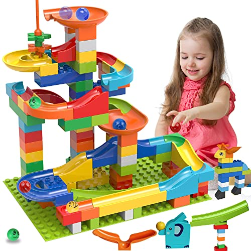 150 Pcs Building Blocks Duplo Marble Run STEM Educational Duplo Blocks Sets Lekebaby Marble Run DIY Marble Game Gifts for Boys Girls Aged 3,4,5,6,7,8 Years Old and Up
