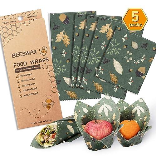 100/% Natural Reusable Beeswax Food Wrap-Set of 3 1 Large, 1 Medium /& 1 Small