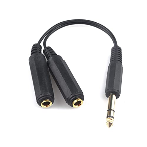 Computer and Speaker 3.5MM TRS to Dual 6.35MM TS Audio Cable 1//8 Stereo Plug to 1//4 Mono Plug 1 in 2 Out Gold-Plated Heavy Duty Y Splitter Cord for Electric Guitar 5 Feet//1.5 M etc
